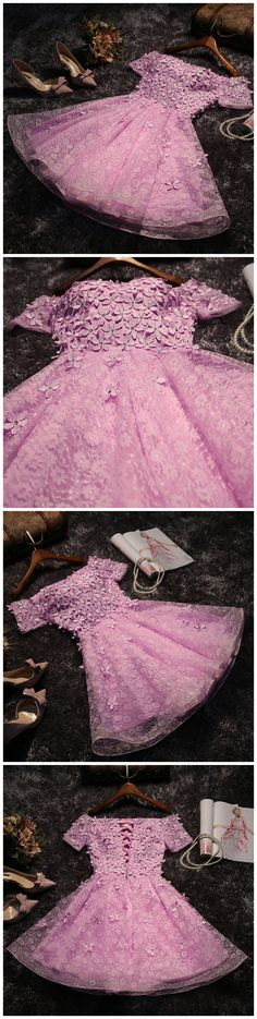 A-line Homecoming Dress,Off-the-shoulder Homecoming Dress, Short Prom Dress, Pink Homecoming Dresses