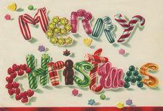 Vintage Christmas Card, Christmas Candy