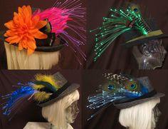 Custom orders are encouraged! Create your own fiber optic, feather fedora by Team Rainbow Designs! #glowing #fedora #accessory #hats #feathers #fiberoptics