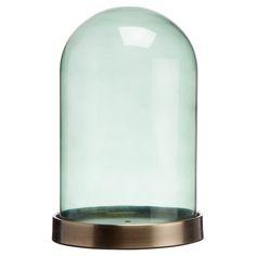 Stolp van groen glas op een glanzend plateau. 24 cm hoog. #kwantumstijl #stolp