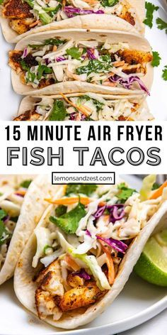 These Air Fryer Fish Tacos are ready start to finish in about 15 minutes. Toss a simple Cilantro Lime Slaw together while the fish air fries and you will have the perfect taco dinner. Use your favorite white fish: tilapia, mahi mahi, cod, etc. A weeknight dinner that is so simple and one that everyone will love! Air Fryer Oven Recipes, Air Frier Recipes, Air Fryer Dinner Recipes, Seafood Recipes, Mexican Food Recipes, Cooking Recipes, Fish Taco Recipes, Healthy Fish Recipes, Cilantro Recipes
