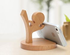 Wooden Phone Stand Desktop Phone Holder Phone Docking by YIMOWOOD