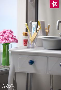 The Key To A Clean Bathroom Is Tidy Countertop With All Of Essentials In