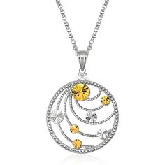 """Uncover a beautiful fashion secret with our heart motif lock and key pendant. The 14K gold key charm dangles before a pebble textured heart. An 18"""" cable chain"""