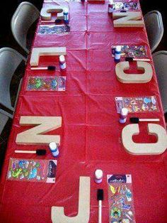 For a kid's party, each gets the first initial of their name