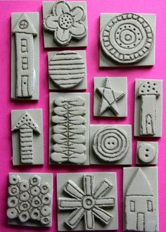 Clay Stamps, Stamp Printing, Printing On Fabric, Tampons En Mousse, Homemade Stamps, Eraser Stamp, Wal Art, Stamp Carving, Fabric Stamping