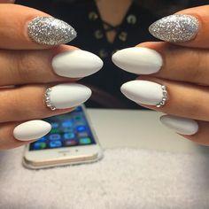 Matte white and silver #whitenails#nailart #nailswag…