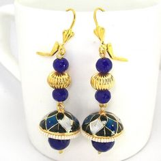 Meenakari Long Tokri Earring Peacock Blue Black
