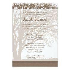 Brown Tree Of Life Bar Mitzvah Invitations