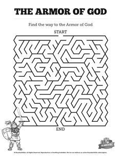 Ephesians 6 The Armor of God Bible Mazes: Can your kids navigate each twist and turn of this Armor of God activity? With just enough challenge to make it fun, this Armory of God Bible maze is perfect for your upcoming Ephesians 6 Sunday school lesson. Bible Study For Kids, Bible Lessons For Kids, Kids Bible, Bible School Crafts, Sunday School Crafts, Bible Crafts, Armor Of God Lesson, Mazes For Kids, Bible Activities