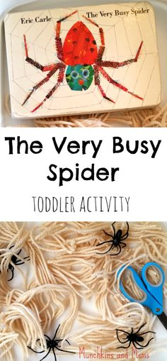 """""""The Very Busy Spider"""" Cutting Activity – Munchkins and Moms Eric Carle's """"The Very Busy Spider"""" toddler and preschool activity Cutting Activities, Motor Activities, Autumn Activities, Toddler Activities, Toddler Snacks, Insect Activities, Toddler Storytime, Dementia Activities, Language Activities"""