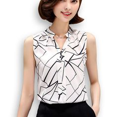 Cheap white chiffon blouse, Buy Quality chiffon blouse directly from China chiffon blouses shirts Suppliers: Blusas Korean Fashion Clothing 2016 Summer Womens Sleeveless White Chiffon Blouse Shirt Ladies Tops V-Neck Female Plus Size White Chiffon Blouse, Shirt Blouses, Plaid Shirts, Casual Shirts, Blouses For Women, Korean Fashion, Clothes, 2017 Summer, Ladies Tops