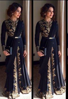 """Bipasha Basu in Sabyasachi Indian couture"" Indian Gowns, Indian Attire, Indian Wear, Black Indian Gown, Pakistani Outfits, Indian Outfits, Ethnic Fashion, Asian Fashion, Indian Fashion Trends"