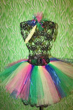 rainbow tutu with ribbon and headband