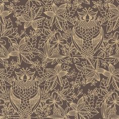 Owl Print (9712) - Albany Wallpapers - An owl design with a batik art style - with distressed effect gold colour owls, nestling in a leaf and berry chocolate brown background. Please request sample for true colour match.