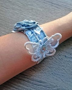 Hey, I found this really awesome Etsy listing at https://www.etsy.com/listing/553798864/denim-bracelet-blue-summer-bracelet-lace