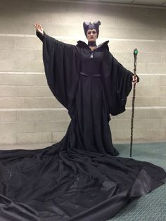 My Maleficent christening gown fabricated after the live action movie starring Angelina Jolie. I hand pleated 50 yards of silk by method of Shibori to create my gown and train. Similar to the screen used material. #Maleficent #cosplay #Comikazeexpo #Comikaze #2014