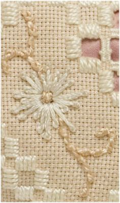 """Designed and Stitched by Gail Sirna Material List: 8"""" X 8"""" piece of Hardanger fabric Perle Cotton #5 (to match fabric) Perle Cotton #8 (to match fabric) 1 skein Empress Art Silk – color of choice…"""