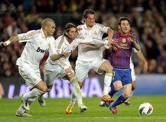 Pepe, Sergio Ramos, Fábio Coentrao and Lionel Messi. F.C. Barcelona 1 - 2 Real Madrid C.F., 21 April 2012