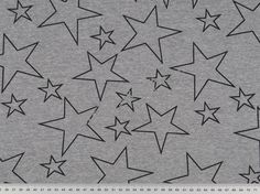 Michas Stoffecke - Sweat schwarze Sterne auf grau meliert S-SA-Bielefeld200285