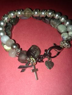 Grey Matters. Brain cancer awareness bracelet by Stacked Jewelry Co.