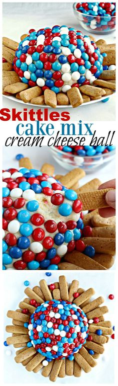 Cream cheese blended with cake mix and covered with Skittles, makes for a delightfully sweet appetizer or dessert.
