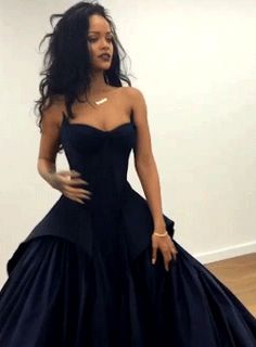 Rihanna at the fitting for her fabulous Zac Posen dress