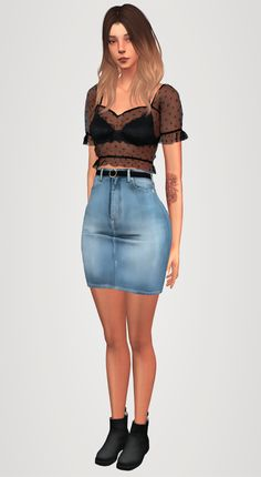 Mesh top & denim skirt + belt & warm boots by Elliesimple for The Sims 4 The Sims 4 Pc, Sims Four, Sims 4 Mm Cc, Sims 4 Cas, Skirt Belt, Denim Skirt, The Sims 4 Cabelos, Sims 4 Cc Shoes, Sims 4 Dresses