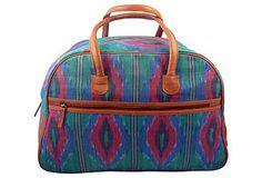 Rising Tide Fair Trade Weekender Bag, Teal Flame Ikat