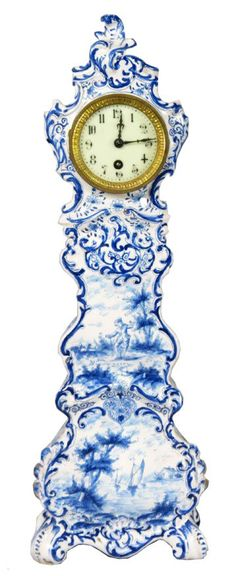 Cute and charming Delft miniature grandfather clock from the late Century, having a porcelain dial, bombe case with scenic and figural blue hand painted decoration. Normal wear around the edges due. Delft, Blue And White China, Love Blue, Chinoiserie, Art Chinois, Antique Clocks, White Porcelain, Porcelain Ceramic, Shades Of Blue