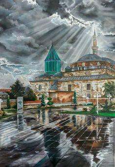 Konya Mevlana Camii Blowing Bubbles, Islamic Calligraphy, Sufi, Kirchen, Islamic Art, Disney Art, Istanbul, Mansions, House Styles