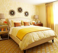 Warm Yellow Bedroom : The bedroom is the room where we lay your head to rest unwinds after a hard day's work. The bedroom is our privacy – a place where everything needs to be any interior design. A place where we can . Yellow Bedroom, Apartment Decor, Bedroom Wall Designs, Bedroom Colors, Tropical Bedrooms, Small Apartment Decorating, Bedroom Decorating Tips, Apartment Carpet, Small Apartments