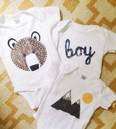 DIY stenciled onesies, boy, mountains, grizzly