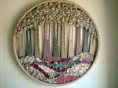 a tree a day: wooly forest :: pink Weaving Wall Hanging, Weaving Art, Weaving Patterns, Tapestry Weaving, Loom Weaving, Hand Weaving, Circular Weaving, Dorset Buttons, Textile Fiber Art