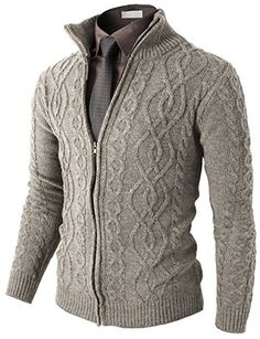 H2H Mens Casual Knitted Twisted Patterned Zip-up Cardigan | Smart Pinner