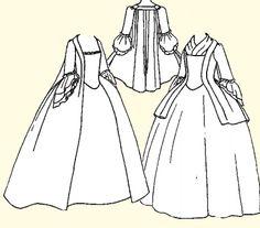 1750's - 1770's Pet-en-l'air or Robe à la Française Pattern  Le Chevalier D'Eon  Without the saque back, this might be a better fit for Lia's red gown.