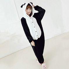 Kigurumi Pijamas Panda Malha Collant/Pijama Macacão Festival/Celebração Pijamas Animal Preto/Branco Miscelânea / Color Block Lã Polar de 776789 2016 por $20.79