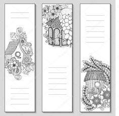 Letöltés - Sablon design könyvjelzők elszigetelt fehér háttér, hely a szövege és a jegyzetek a felülnézet. Színezés oldal makett felnőtt. Vektoros illusztráció — Stock Illusztráció