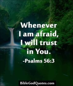 Whenever I am afraid, I will trust you. ~ Psalms 56:3
