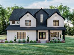 050H-0328: Two-Story Luxury House Plan Two Story House Plans, Family House Plans, Luxury House Plans, Dream House Plans, Luxury Houses, Modern Farmhouse Exterior, Modern Farmhouse Style, Board And Batten Siding, Bookshelves Built In