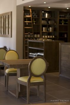 The wine tasting area at Vergelegen in Somerset West, South Africa. Interior design by Christiaan Barnard, solid wood furnishings and shopfitting by Pierre Cronje Furniture, Interior Decorating, Interior, Decor Design, Home Decor, Fine Furniture, Dining Chairs, Interior Design, Furnishings