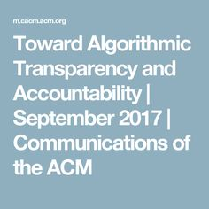 Toward Algorithmic Transparency and Accountability Accounting, September