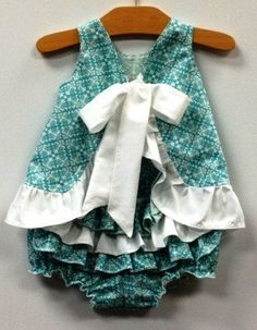 Girls spring dress with ruffle pants by Mayd4u on Etsy