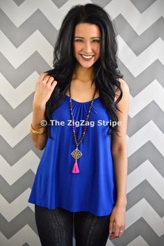 Royal Spaghetti Tank – The ZigZag Stripe. Save 10% with coupon code ZZS72 - shipping is free! http://www.zigzagstripe.com?afmc=ZZS72