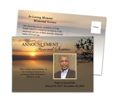 Use these memorial service announcement card templates to inform funeral announcements kenya funeral announcement postcard template the funeral program site stopboris Images
