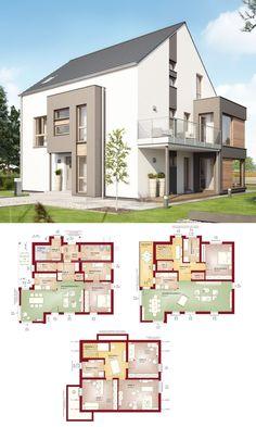 Zweifamilienhaus mit Einliegerwohnung & Satteldach Architektur - Haus Grundriss 3-geschossig mit Maisonette Wohnung - Fertighaus Celebration 275 V2 Bien Zenker Hausbau - HausbauDirekt.de