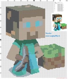 Steve Minecraft cross stitch pattern - 2186x2543 - 3055453