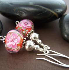 Lampwork glass plunged florals in stunning color with sterling silver! Gorgeous earrings! Stone Street Studio.