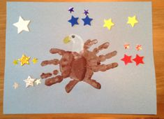 Handprint and Footprint Eagle Craft - Fourth of July Craft - Patriotic Craft - USA Craft Daycare Crafts, Classroom Crafts, Baby Crafts, Classroom Ideas, Toddler Art, Toddler Crafts, Crafts For Kids, 4th July Crafts, Patriotic Crafts