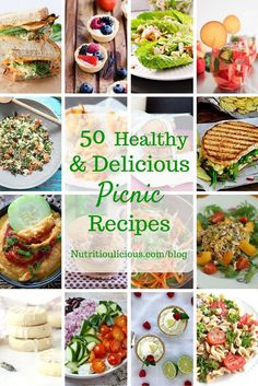 50 healthy and delicious picnic recipes perfect for enjoying the beautiful days of spring and summer! @jlevinsonrd